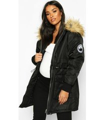 maternity faux fur trim parka coat, black