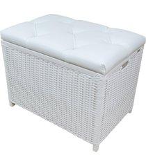 cesto puff ba㺠organizador roupa fibra sintetica 60x40x48 - branco - estampado - feminino - dafiti