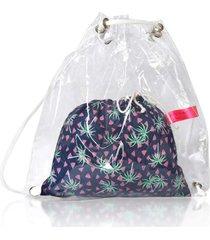 mochila conjunto infantil ania store folhas e coqueiros verde