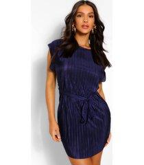 plisse shift dress, navy