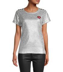 karl lagerfeld paris women's metallic buttoned-shoulder top - light heather silver - size l