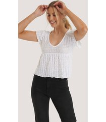 trendyol stickad t-shirt med rund halsringning - white