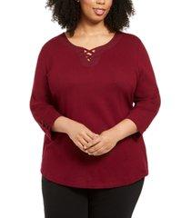 karen scott plus size cotton crisscross top, created for macy's