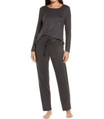 women's natori fleece pajamas, size small - black