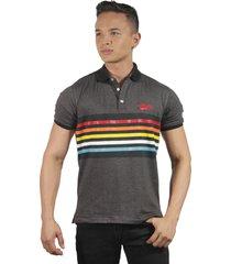 camiseta polo hombre manga corta slim fit gris marfil lines