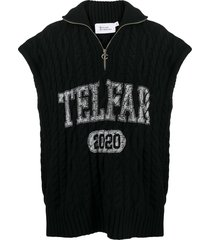 telfar cable-knit logo print pullover jumper - black