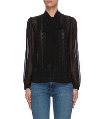 see-through chiffon bow blouse