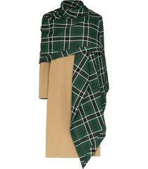 rosie assoulin checked shawl mid-length coat - brown