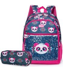 mochila e estojo spector panda azul/rosa