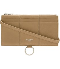 dolce & gabbana large leather card holder - neutrals