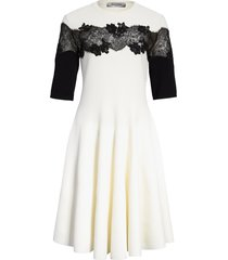 women's valentino sweater dress with lace detail, size medium - ivory