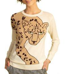 trina turk women's leopard intarsia merino wool sweater - white wash - size s