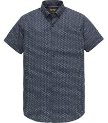 pme legend psis202249 5287 short sleeve shirt poplin all-over print dark sapphire blauw