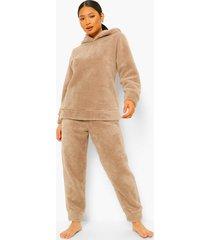 petite fleece pyjama set met oortjes, stone