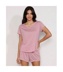 pijama feminino manga curta rosê