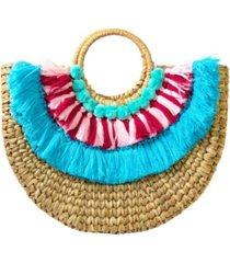 area stars women's straw half circle tote bag