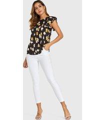 yoins blusa negra de gasa con mangas con volantes y estampado floral al azar