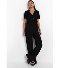 plisse jumpsuit met knopen, black