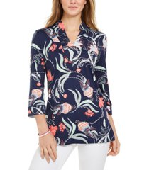 charter club knit 3/4-sleeve paisley tunic top, created for macy's
