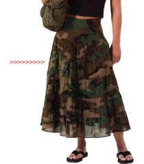 womens ladies woodland army military camo gauze cloth mesh cotton long skirt new