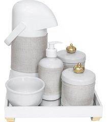 kit higiene espelho completo porcelanas, garrafa e capa coroa dourado quarto bebê unissex