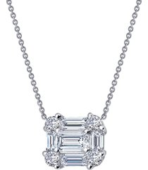 women's lafonn baguette halo pendant necklace