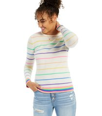cashmere candy stripe print long-sleeve crewneck sweater, created for macy's