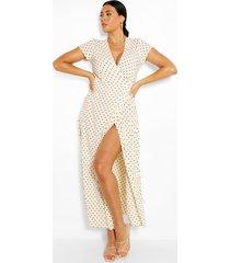 plusmaat wikkelmaxi-jurk met polkastippen, crème