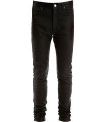 amiri python print leather trousers