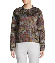 butterfly-print cotton blend sweater