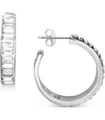 """essentials crystal baguette small hoop earrings in fine silver-plate, 1"""""""