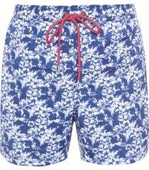 short masculino praia floral fresh - azul