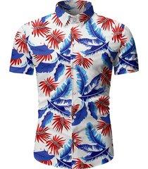 tropical leaf print button up beach shirt