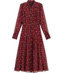 mönstrad skjortklänning med lång ärm