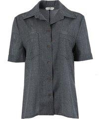 grey perforated wool short-sleeve shirt
