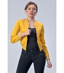 chaqueta bomber dama mostaza di bello jeans  classic jackets ref c003