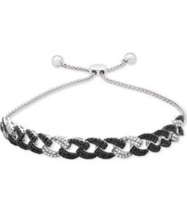 wrapped in love black and white diamond link bolo bracelet (1 ct. t.w.) in sterling silver, created for macy's