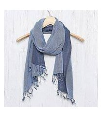 cotton reversible scarf, 'blue duet' (thailand)