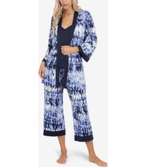 linea donatella tie-dye robe, cami & capri 3pc loungewear set
