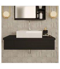 conjunto para banheiro bancada com cuba q39 quadrada city 800 preto ônix