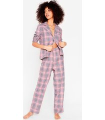 womens takin' a rain check shirt and pants pajama set - pink