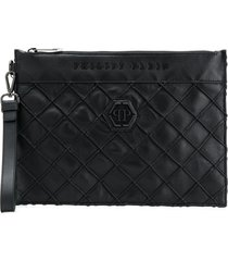 philipp plein geometric sheepskin clutch bag - black