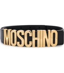 moschino logo belt with gold-tone hardware - black