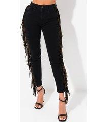 akira i feel it fringe straight jeans