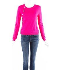 altuzarra pink wool knit snap button sweater pink sz: xs