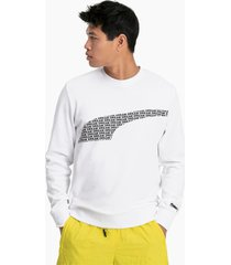 avenir graphic crew neck sweater voor heren, wit/aucun, maat m | puma