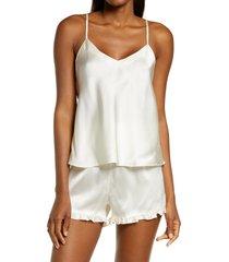 women's nordstrom short silk pajamas, size large - ivory
