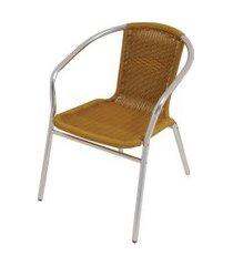 cadeira poltrona rattan para jardim em aluminio mor