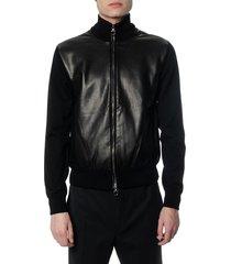 salvatore ferragamo black wool & leather down jacket