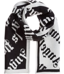 palm angels monogram wool scarf